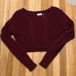 Tobi Burgundy Crop Top Sweater